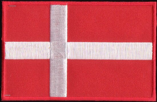 Danish flag ironing patch 8.5 x 6 cm