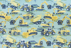 Dusty-green cotton-jersey with ca. 6 cm construction machines