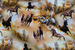 Golden cotton-jersey with horses