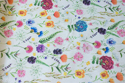 Linen-colored cotton and polyester with field-flowers