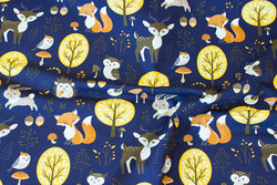 Navy cotton-jersey with forest-animals