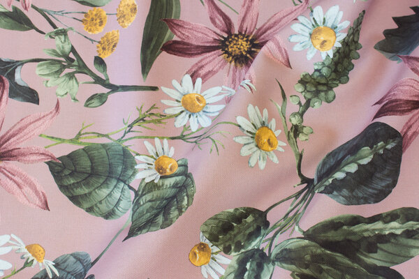 Old rose cotton-canvas with big flowers