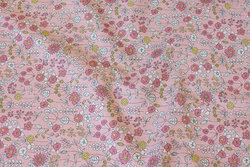 Old rose linen-look with ca. 1 cm flowers