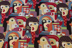 Tapestry with faces in Picasso-style