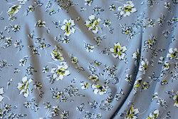 Tencel-modal soft jersey in grey with 1-2 cm flowers