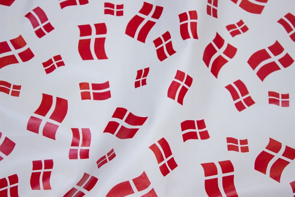 Red-white flags on coated fabric