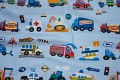 Light blue cotton with service vehicles.