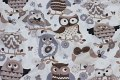 White cotton with stylish, big, brown owls