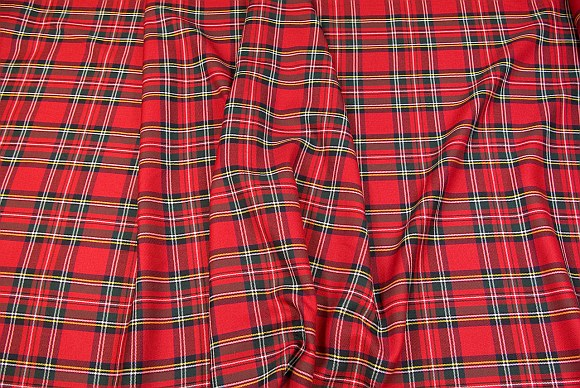 Tartan checker fabric in red, green and yellow