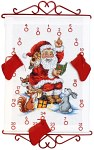 White Christmas calendar with Santa Claus reading