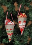 Embroidery cones as christmas trees ornaments