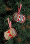 Embroidery christmas drums as trees ornaments