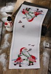 Permin 3656-75. Christmas table runner in white with snowman and elfs.