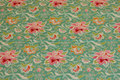 Mint-green cotton with soft red flowers