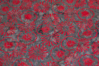 Grey batique-cotton with red pattern