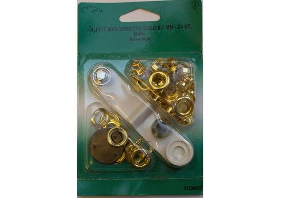 Goldish rings 8.7 mm 24 pcs, tool included