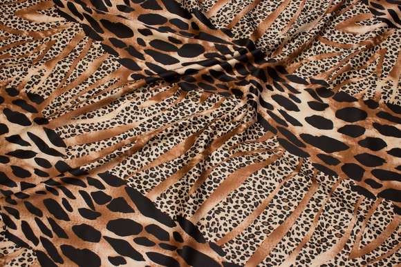 Stretch-satin in light brown and black animal-print