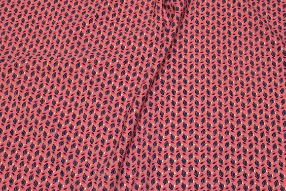 Small-patterned micro-polyester in old rose, navy and discrete gold
