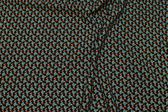 Small-patterned micro-polyester in black, jade and discrete gold