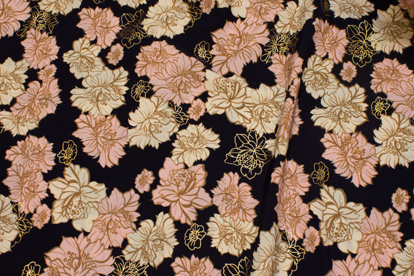 Navy micro-polyester with flowers in soft red, off white and discrete gold
