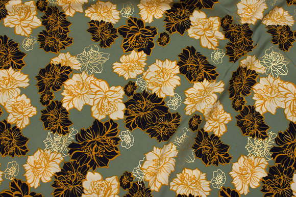 Dusty-green micro-polyester with flowers in navy, off-white and discrete gold.