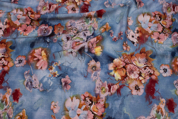 Dusty blue viscose-mousselin with golden flowers