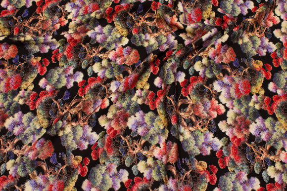 Black viscose-mousselin with multicolored trees