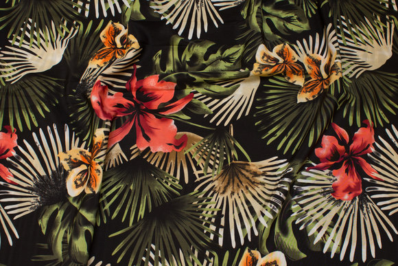 Black, lightweight micro-polyester with jungle-plants