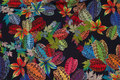 Navy viscose mousselin with multicolored leaves