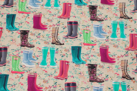 Patchwork cotton with colorful rubber boots