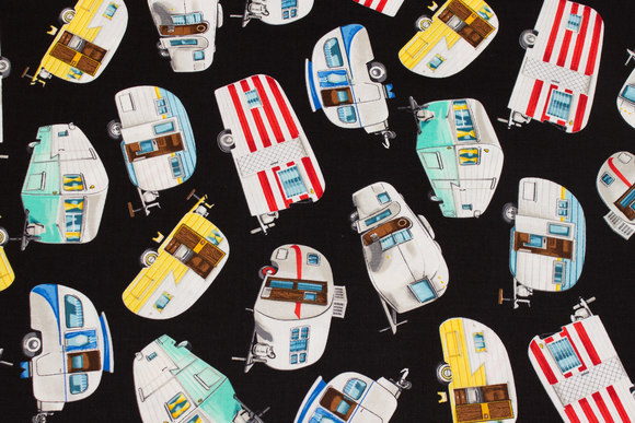 Black patchwork cotton with camper wagons