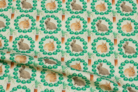Patchwork cotton with rabbits and cabbage