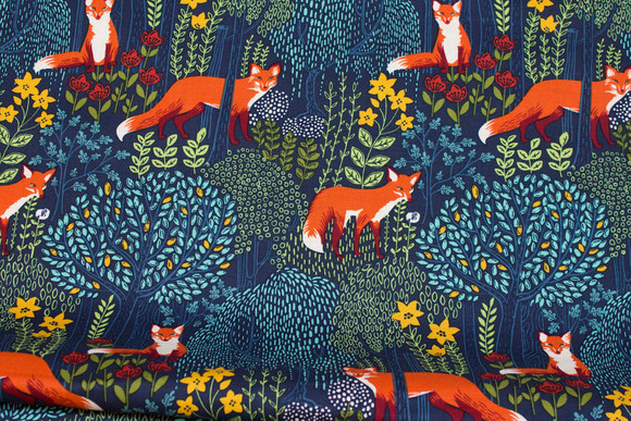 Light navy patchwork cotton with foxes