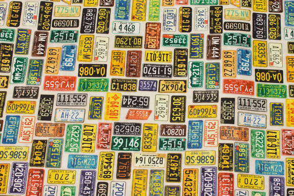 Patchwork cotton with amerikanske license plates