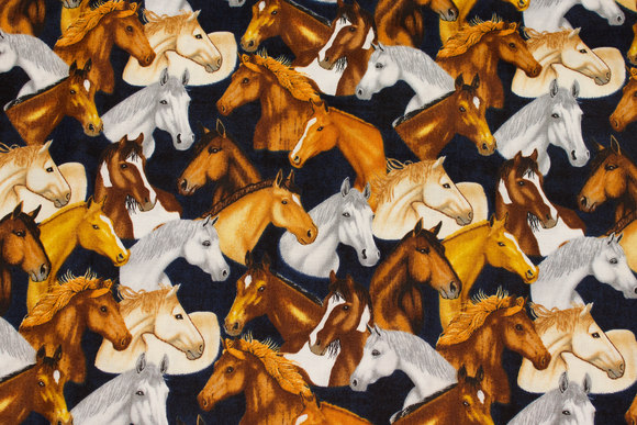 Black patchwork cotton with horse-heads