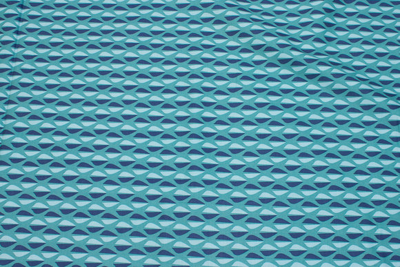 Cotton in turqoise and blue retro-pattern