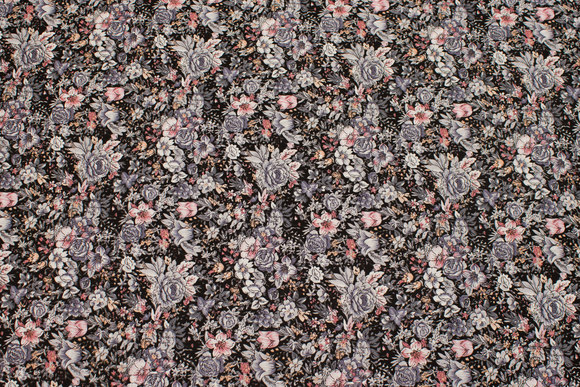 Black cotton with grey and soft red flowers