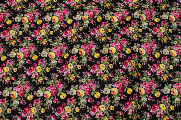 Black cotton with pink and yellow roses