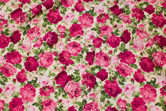 Off white cotton with pink roses