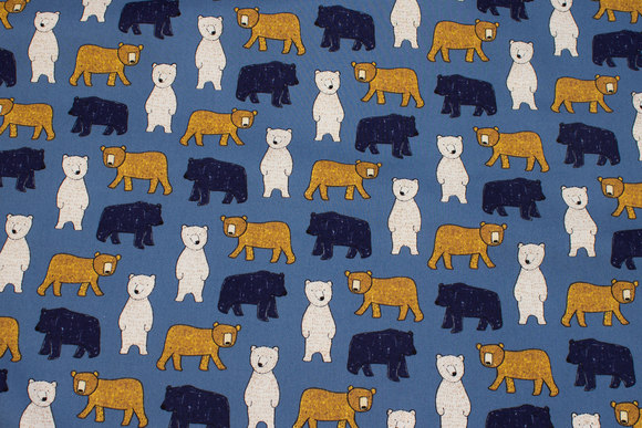 Blue, lightweight softened cotton with bears