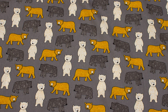 Grey, lightweight softened cotton with bears