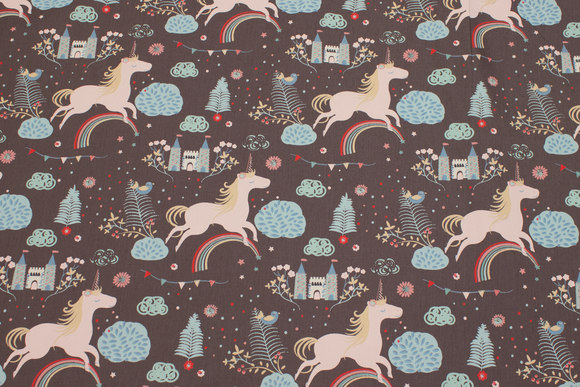 Grey cotton with soft red unicorns