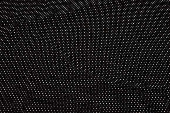 Black viscose mousselin with white mini-dots