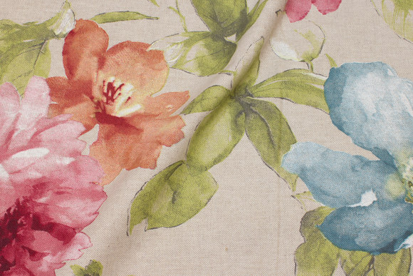 Linen-look with big flowers in blue, pink and orange