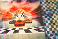 Front-piece with race cars, back with checks. 70 x 140 cm. Can be combined with unicolor cotton-jersey for sleeves.