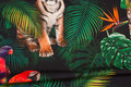 Front-piece with big tiger and parrots. Back-piece with small tiger. 100 x 150 cm. Can be combined with unicolor cotton-jersey for sleeves.