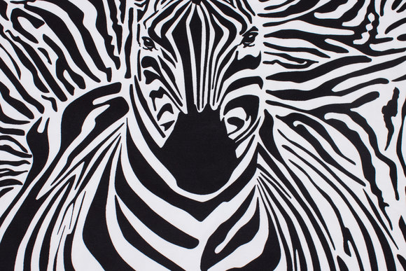 Zebra panel (front- and back-piece) cotton-jersey in white and black