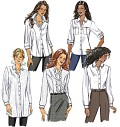 Fitted shirts A, B, C, D, E have collar band, shaped hemline, below elbow or long sleeves with pleats, placket, button cuffs, front-button closing, topstitch trim and narrow hem. A: button trim on pleated pockets, long, rolled sleeves (wrong side shows) and button tabs. C: tunic length. A, B, C: mock front bands. A, B, C, D: collar. D, E: front bands and princess seams. E: flounce.