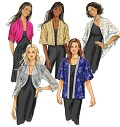Loose-fitting jackets A, B, C, D, E with no closures. A, B: above waist, dolman sleeves, pleated drape. B: sleeve bands. C, D: kimono sleeves, stitched hems. D: below hip, purchased ribbon trim. E: self-lined, above waist, optional edgestitching.
