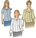 Enjoy these blouse styles that will take you to work, school or out to cocktails. These easy-to-sew blouses are designed for fluid fabrics. To create your own custom look, each sleeve, collar or front opening can be easily placed into another view, making this pattern a true mix-and-match design. There are scores of options to design a blouse for your personal needs.